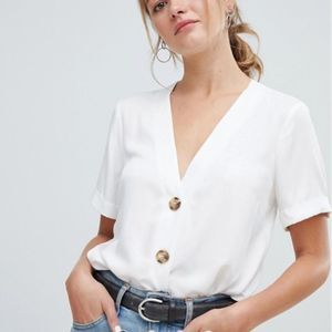 Button Up Linen Crop Top White/Cream Size Large